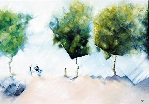 Morning coffee, 1.  A series of 3 paintings depicting the square of Ascona, a popular place to meet for coffee.