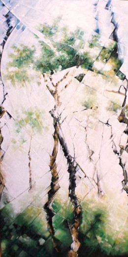 The birch trees of Bavona.  Depicting the typical birch tree forests of Val Bavona.