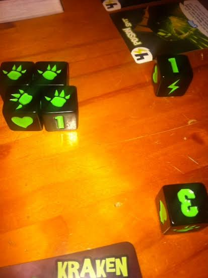 King of Tokyo Dice - the claw means fight! Great for attacking opponents :-)