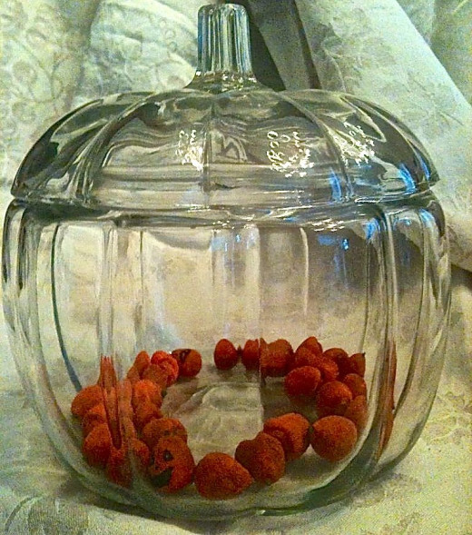 Acorn Pumpkins trapped inside of my pumpkin candy jar!