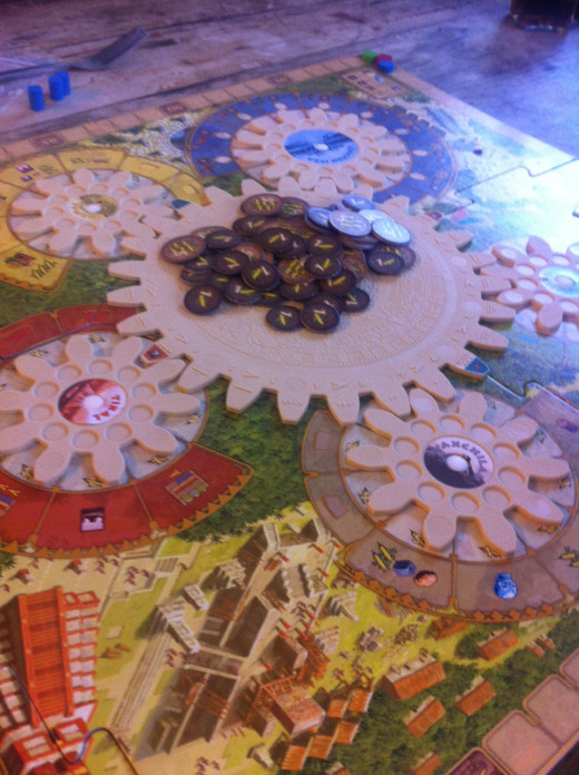 Board set up with turning cogs assembled and Corn in the 'bank'!