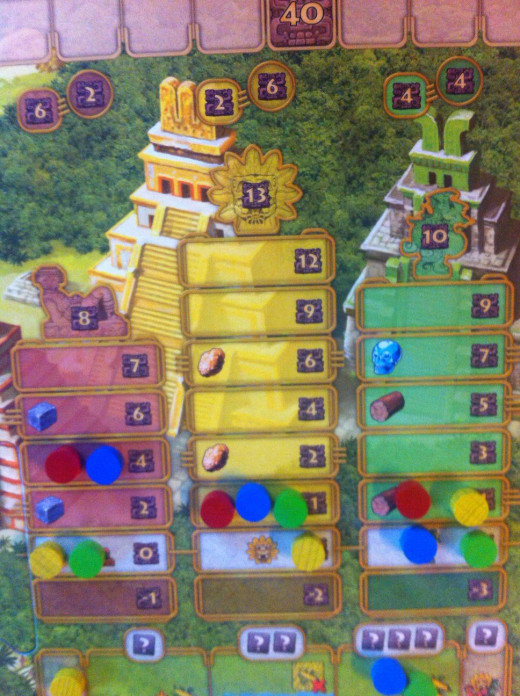 Make sure that you please all three temple God's and they will reward you with more resources and victory points.