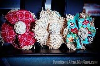 Burlap Flowers created by The Tidy Nest