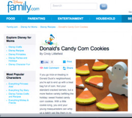 Donald Duck's Candy Corn Cookies from Family.com
