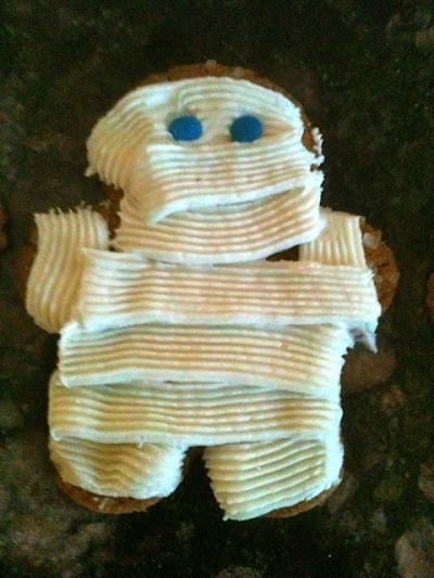 Mummy Cupcake Topper #4--he looks like a prisoner in stripes!