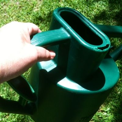 The easy to hold handle on the Haws allows for ergonomic watering.