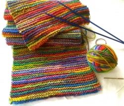 Rainbow Cowl Infinity Scarf knitted by Me!