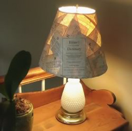 This is the decoupaged custom lampshade I made from an old dictionaryhttp://www.squidoo.com/decorating-lampshades