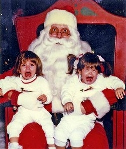 Scared of Santa X 2 = Funny (Santa is not too happy, either!)