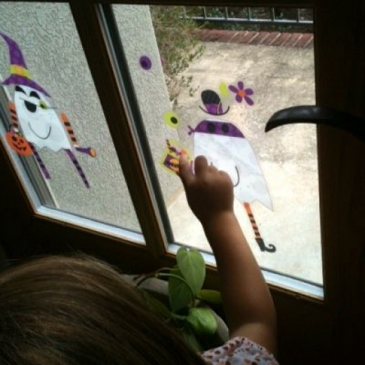 These Halloween Window Cling Ghosts were a hit, too!