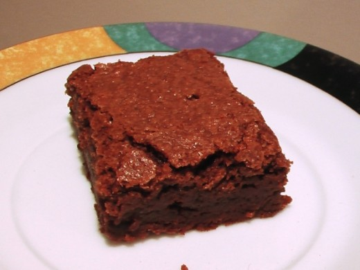 The top of this perfect brownie is thin and crunchy.