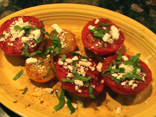 Hot off the grill and dressed with feta and shredded fresh basil I just picked.