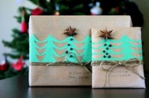 a chain of paper trees for Christmas Gift wrap