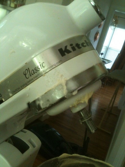Detail of the splattered batter. Always wipe down your mixer before you put it in the cabinet.