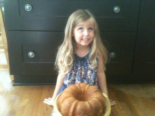 My little Greek baby with her bundt pound cake.