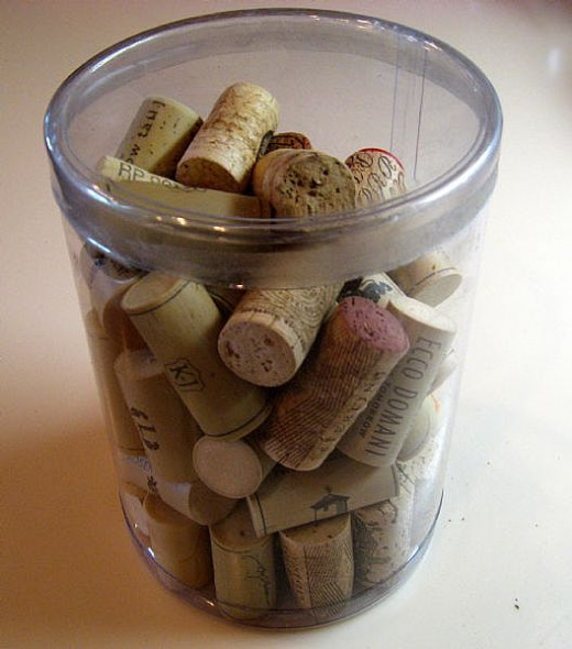 Let your corks accumulate until you are ready to create something with them. I leave them on the counter overnight so the cork can dry out, then put it in my closed container.