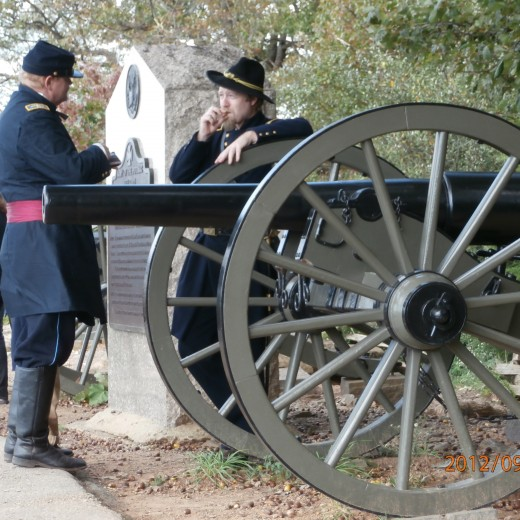 Docents at Gettysburg answer questions for visitors to the battlefield. Here, they are taking a break.